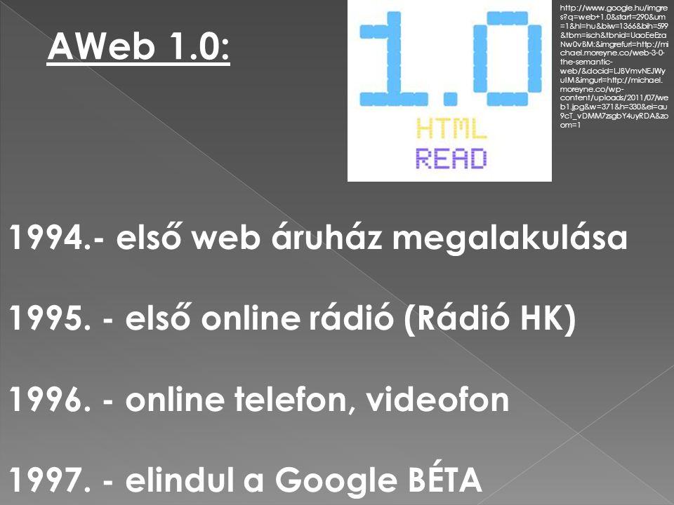 AWeb 1.0: - első web áruház megalakulása