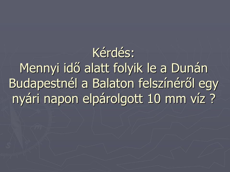 Kérdés: Mennyi idő alatt folyik le a Dunán Budapestnél a Balaton felszínéről egy nyári napon elpárolgott 10 mm víz