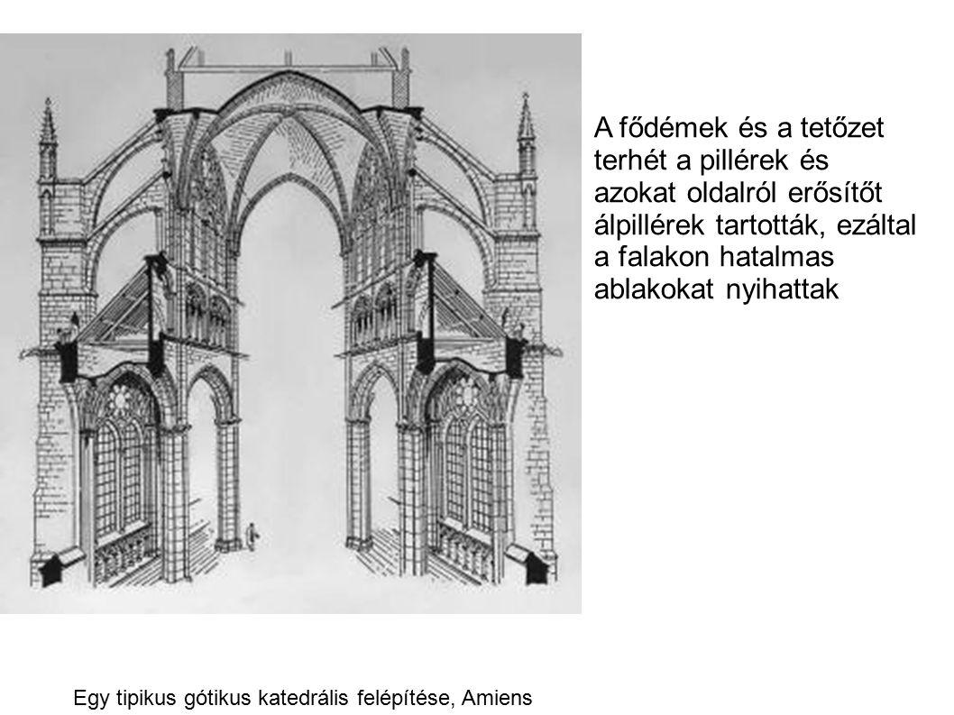 A fődémek és a tetőzet terhét a pillérek és azokat oldalról erősítőt álpillérek tartották, ezáltal a falakon hatalmas ablakokat nyihattak