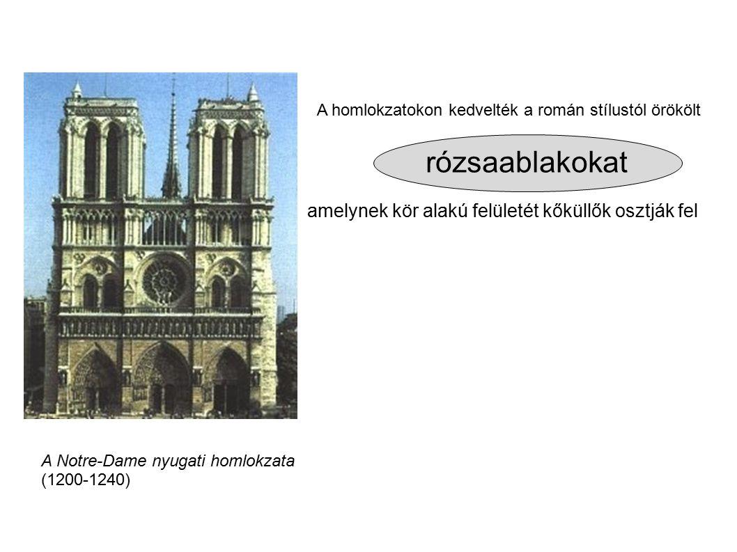 rózsaablakokat amelynek kör alakú felületét kőküllők osztják fel