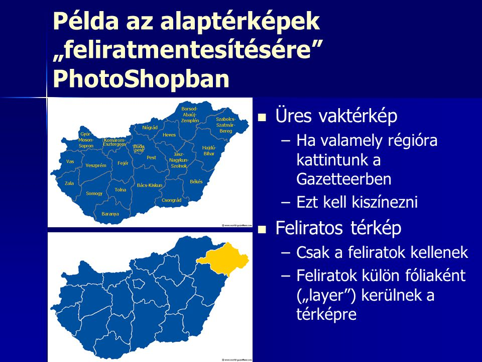 """Példa az alaptérképek """"feliratmentesítésére PhotoShopban"""