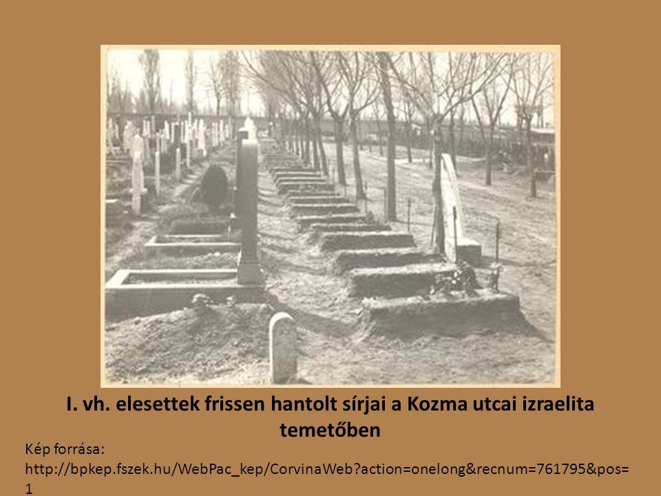 I. vh. elesettek frissen hantolt sírjai a Kozma utcai izraelita temetőben