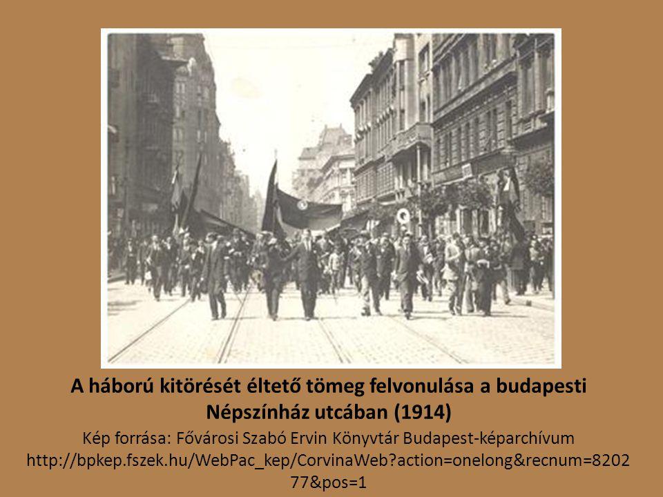 A háború kitörését éltető tömeg felvonulása a budapesti Népszínház utcában (1914)