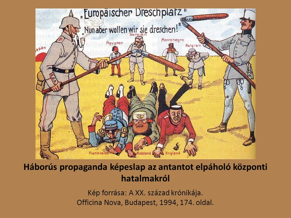 Háborús propaganda képeslap az antantot elpáholó központi hatalmakról