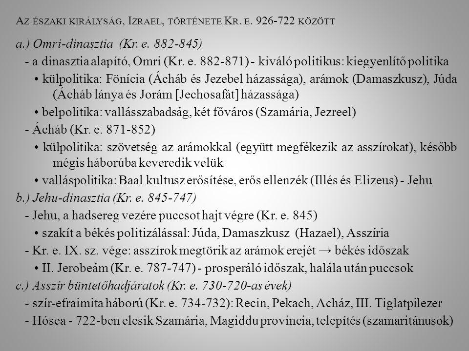Az északi királyság, Izrael, története Kr. e. 926-722 között