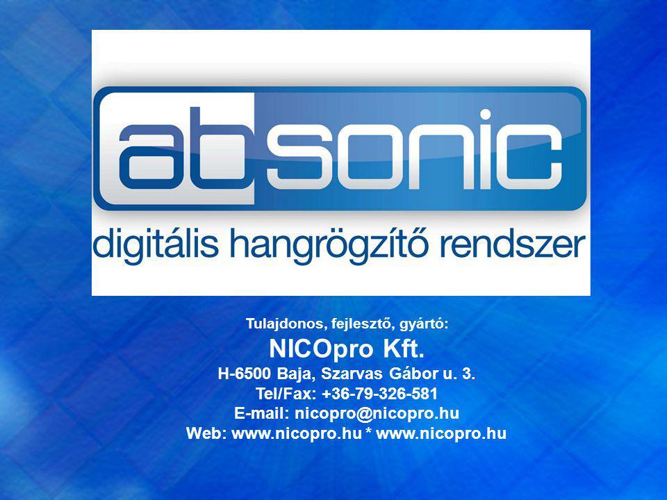 Tulajdonos, fejlesztő, gyártó: NICOpro Kft