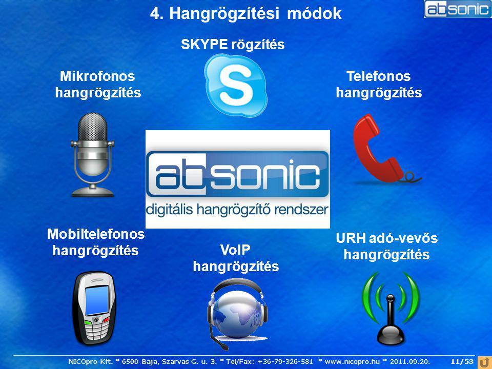 4. Hangrögzítési módok SKYPE rögzítés Mikrofonos hangrögzítés