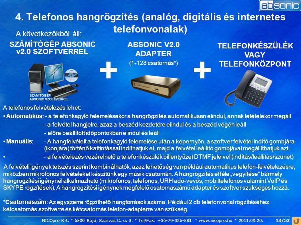 4. Telefonos hangrögzítés (analóg, digitális és internetes telefonvonalak)