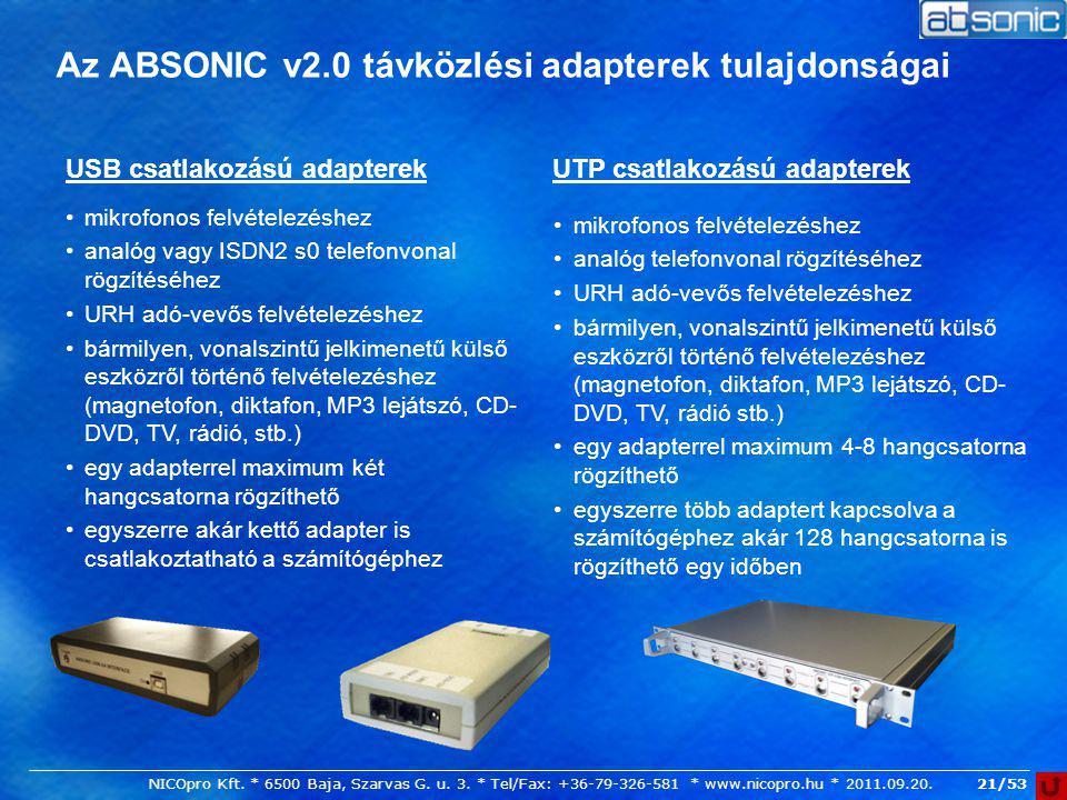 Az ABSONIC v2.0 távközlési adapterek tulajdonságai