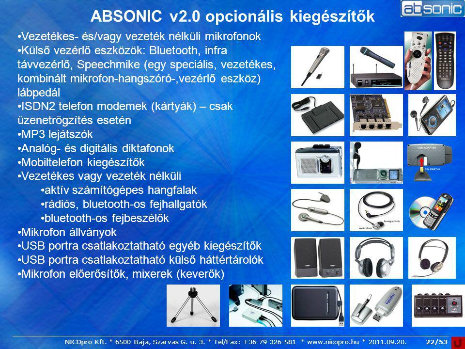 ABSONIC v2.0 opcionális kiegészítők