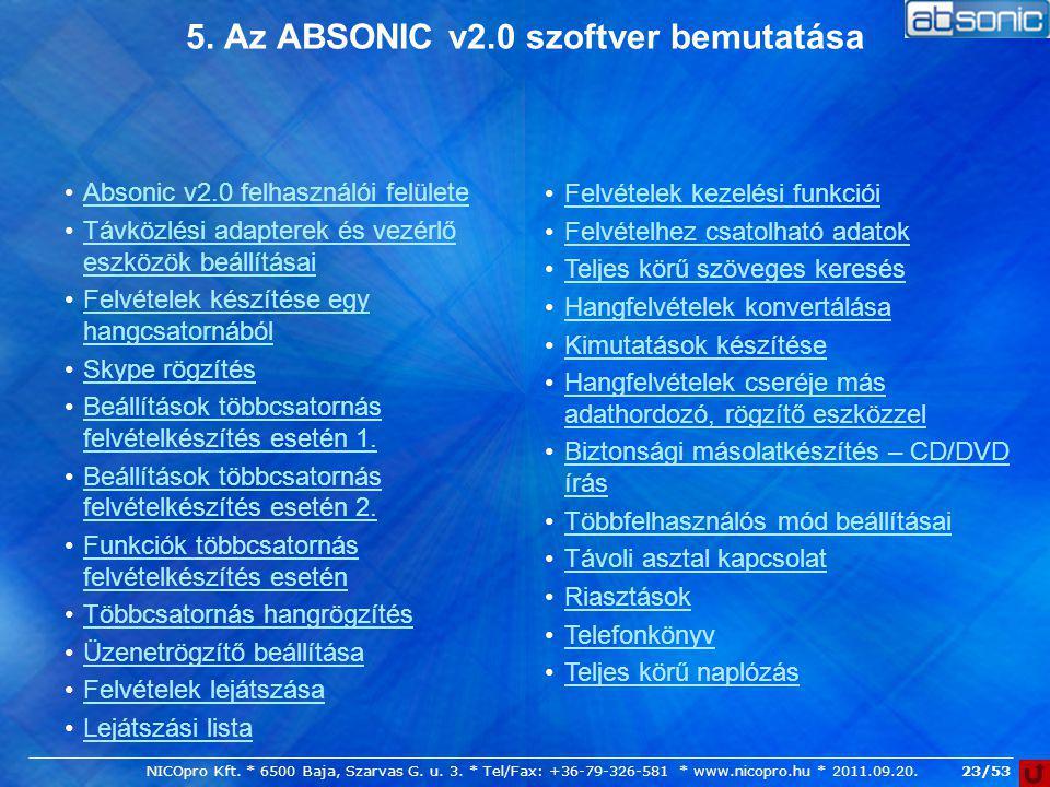 5. Az ABSONIC v2.0 szoftver bemutatása