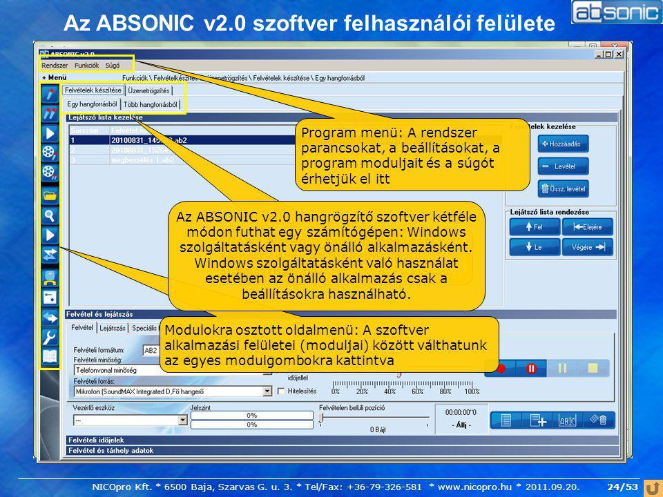 Az ABSONIC v2.0 szoftver felhasználói felülete