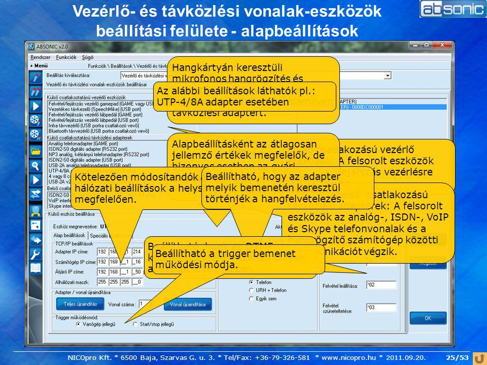 Vezérlő- és távközlési vonalak-eszközök beállítási felülete - alapbeállítások