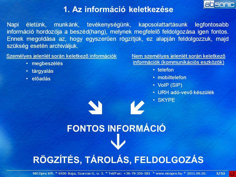 1. Az információ keletkezése