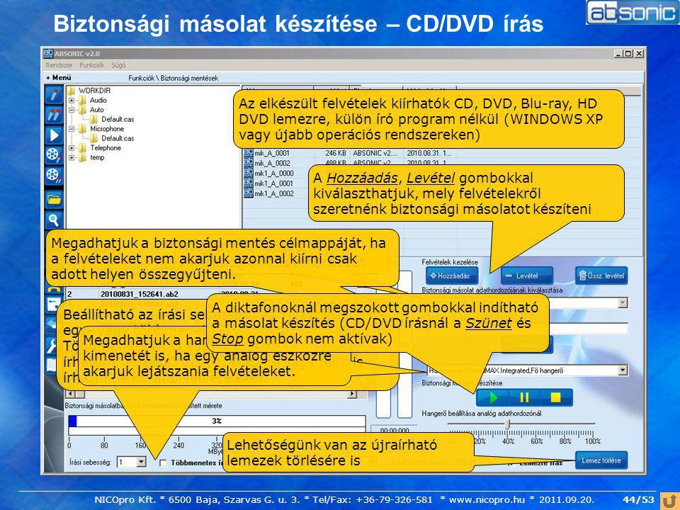 Biztonsági másolat készítése – CD/DVD írás