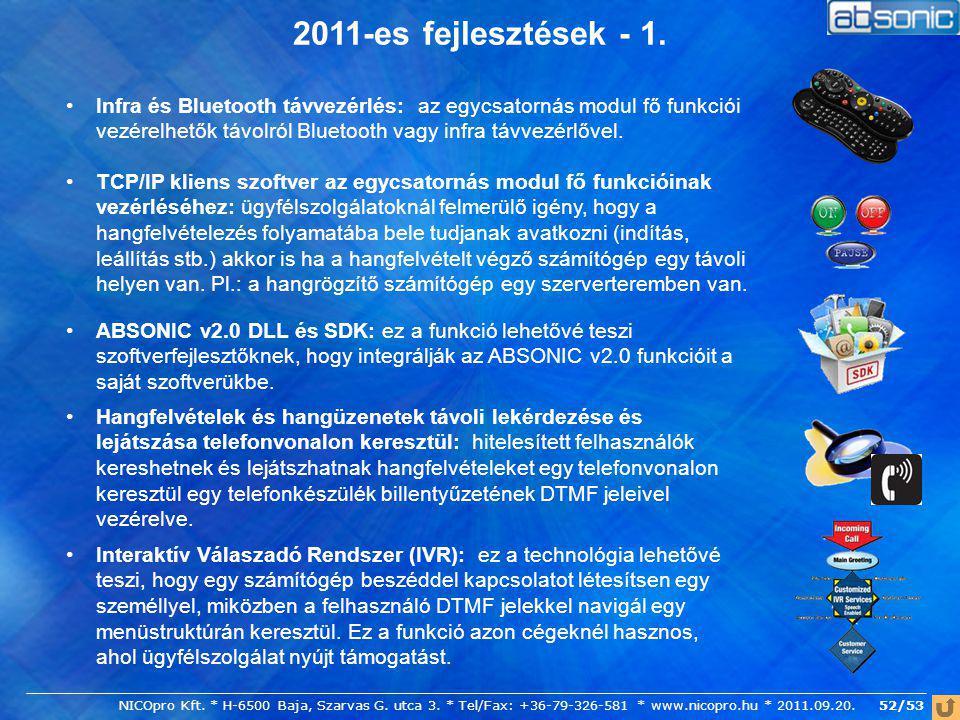 2011-es fejlesztések - 1.