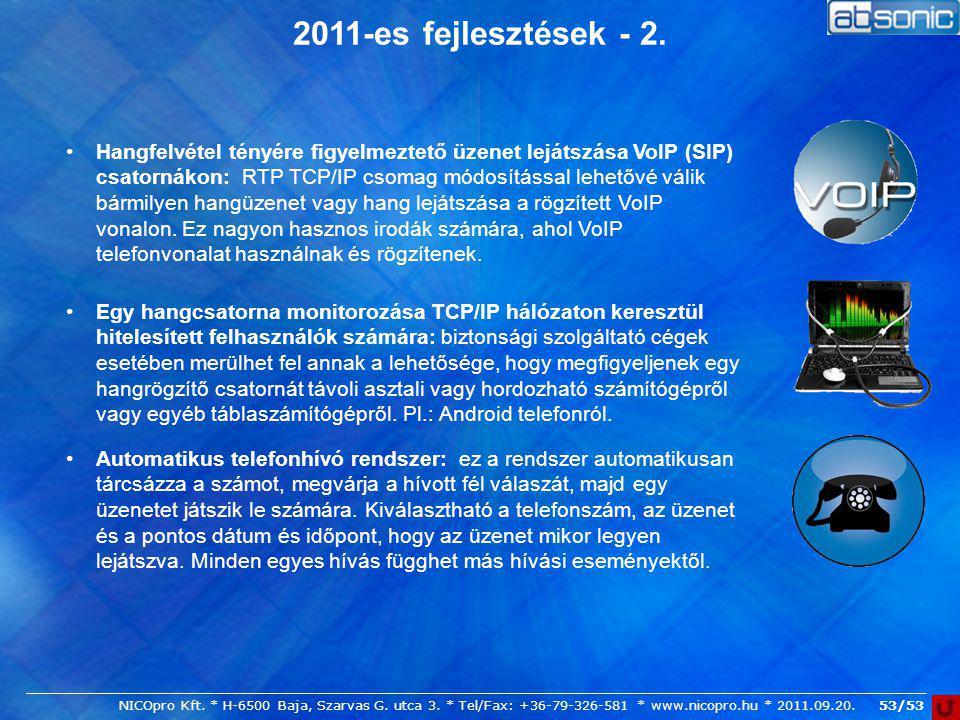 2011-es fejlesztések - 2.