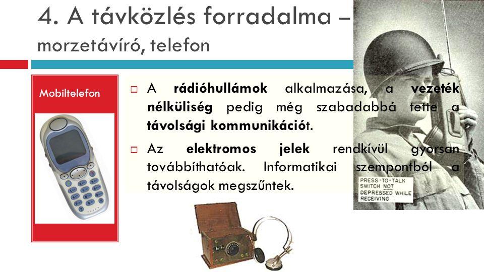 4. A távközlés forradalma – morzetávíró, telefon