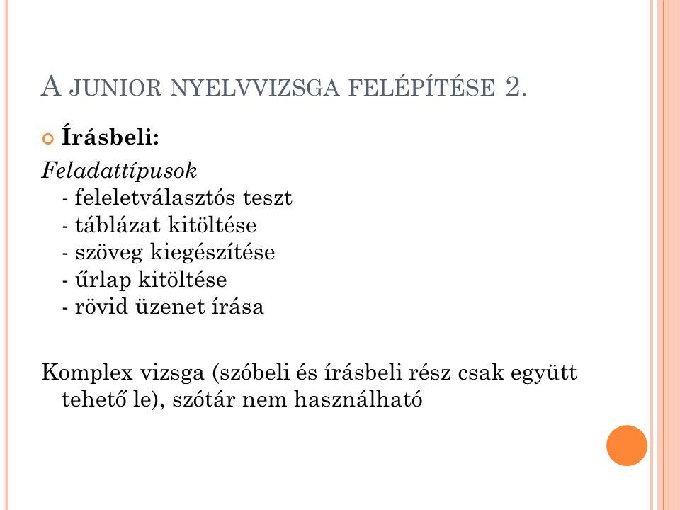 A junior nyelvvizsga felépítése 2.