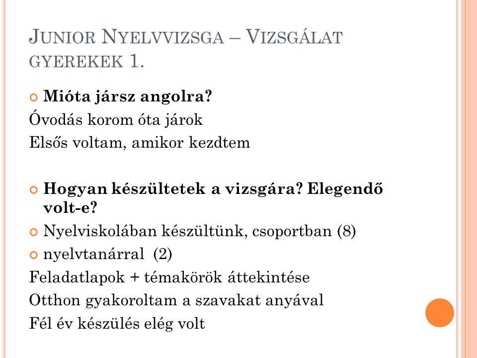 Junior Nyelvvizsga – Vizsgálat gyerekek 1.