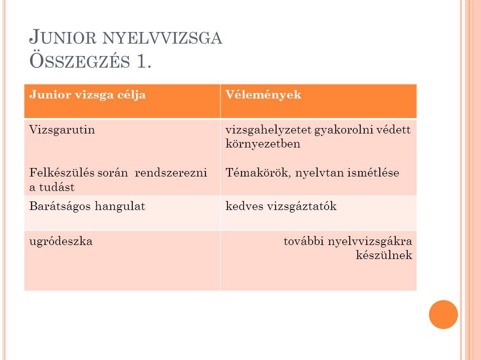 Junior nyelvvizsga Összegzés 1.