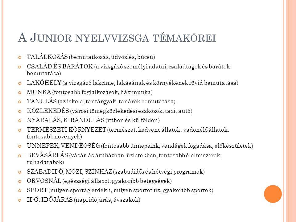 A Junior nyelvvizsga témakörei