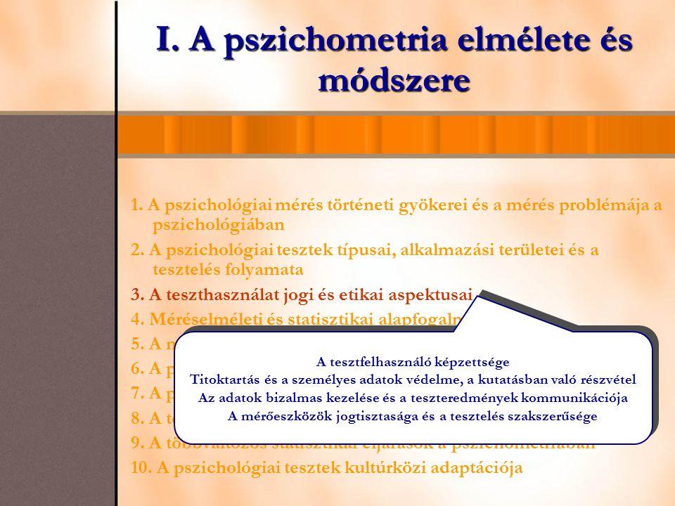 I. A pszichometria elmélete és módszere