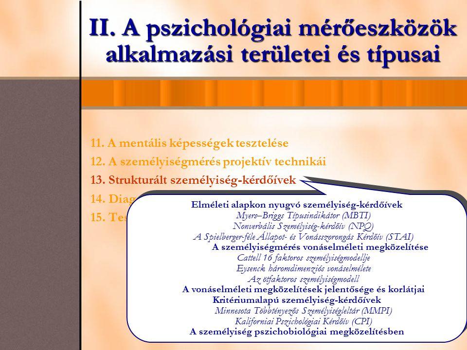 II. A pszichológiai mérőeszközök alkalmazási területei és típusai