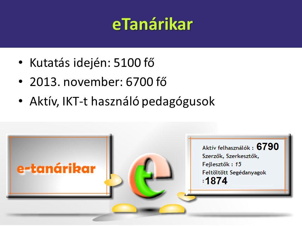 eTanárikar Kutatás idején: 5100 fő 2013. november: 6700 fő
