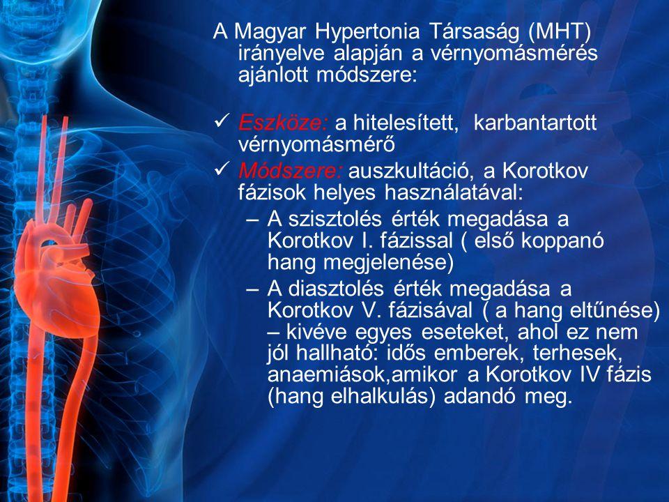 A Magyar Hypertonia Társaság (MHT) irányelve alapján a vérnyomásmérés ajánlott módszere: