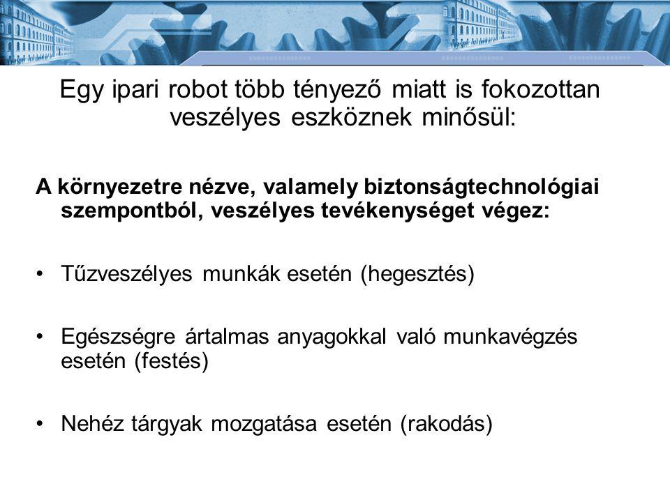 Egy ipari robot több tényező miatt is fokozottan veszélyes eszköznek minősül: