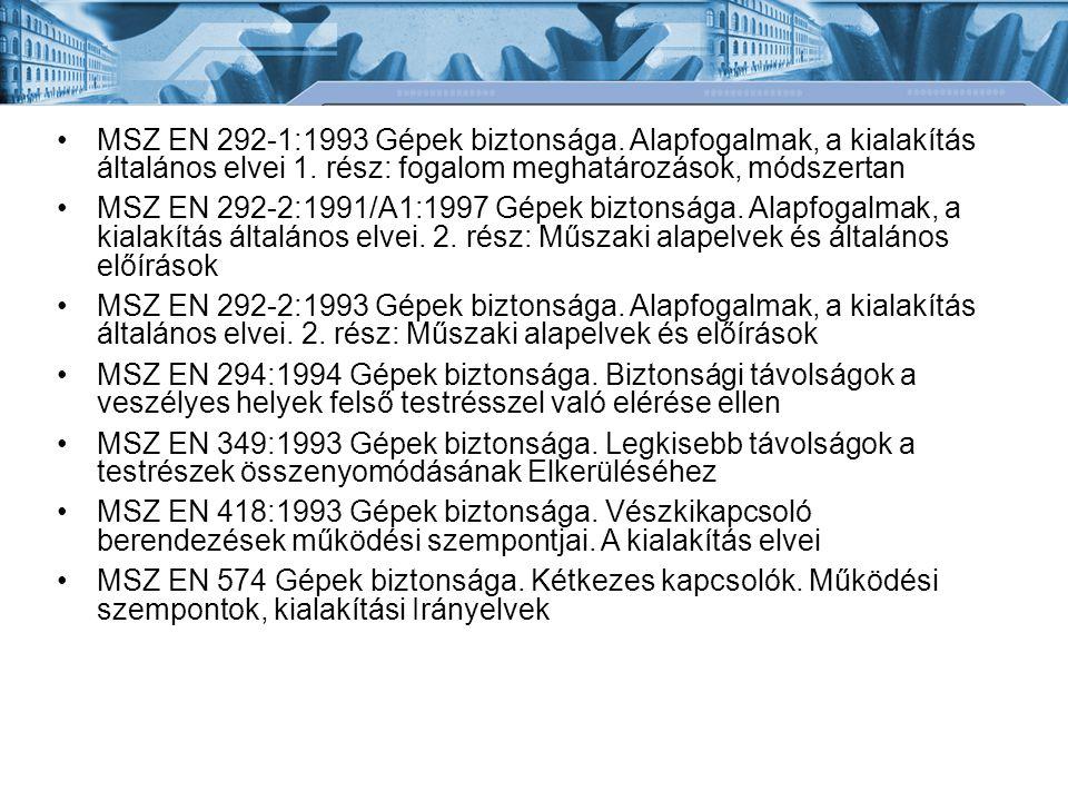 MSZ EN 292-1:1993 Gépek biztonsága
