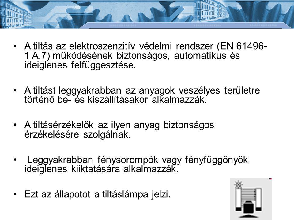 A tiltás az elektroszenzitív védelmi rendszer (EN 61496- 1 A
