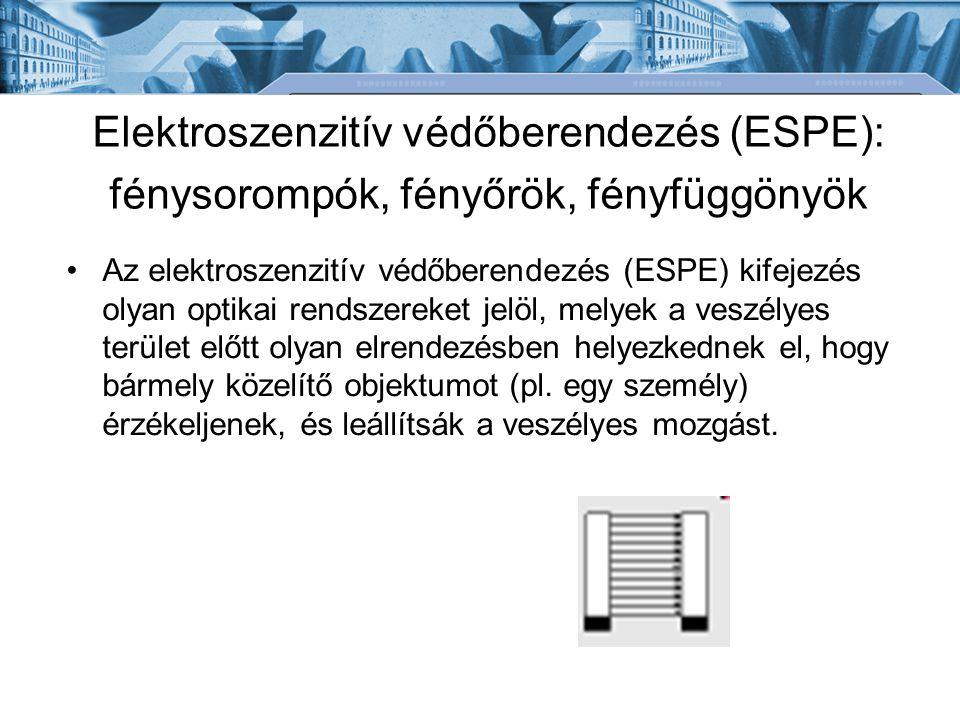 Elektroszenzitív védőberendezés (ESPE): fénysorompók, fényőrök, fényfüggönyök