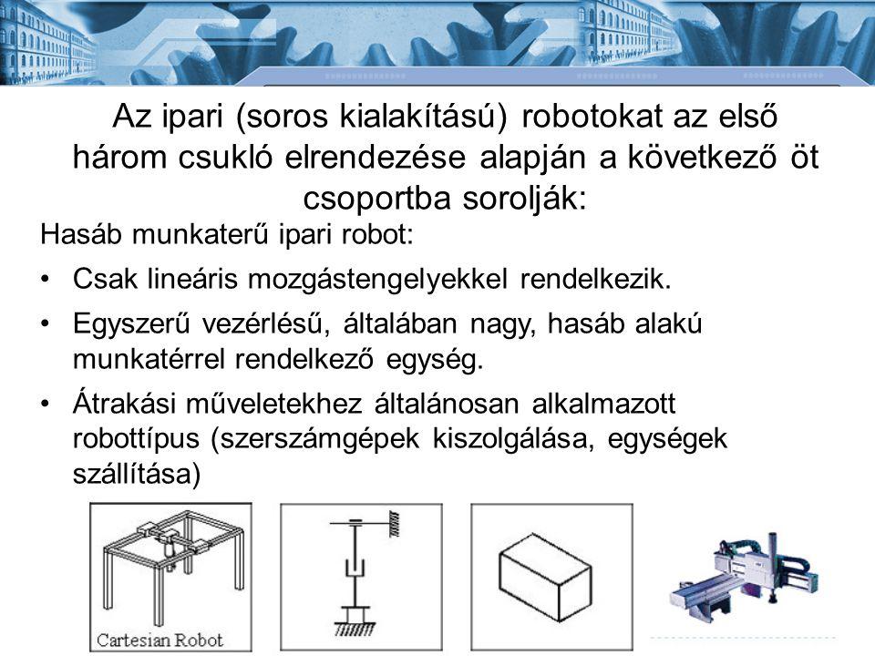 Az ipari (soros kialakítású) robotokat az első három csukló elrendezése alapján a következő öt csoportba sorolják: