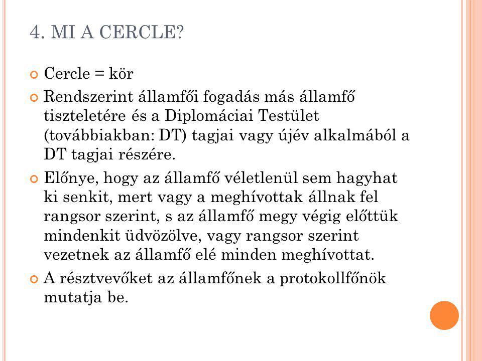 4. MI A CERCLE Cercle = kör.