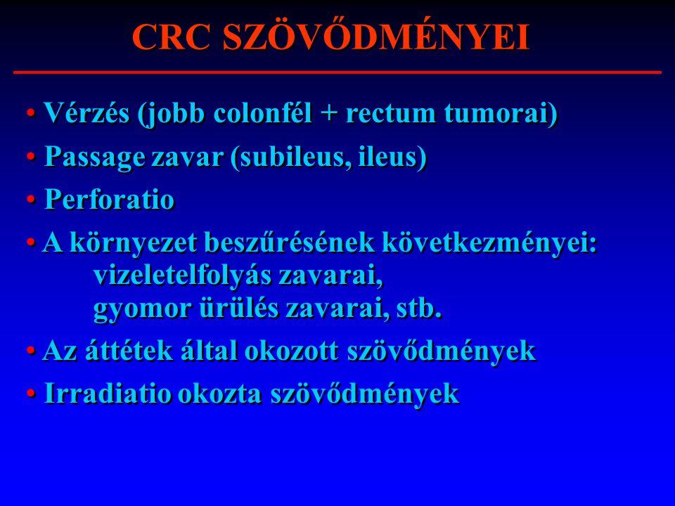 CRC SZÖVŐDMÉNYEI Vérzés (jobb colonfél + rectum tumorai)
