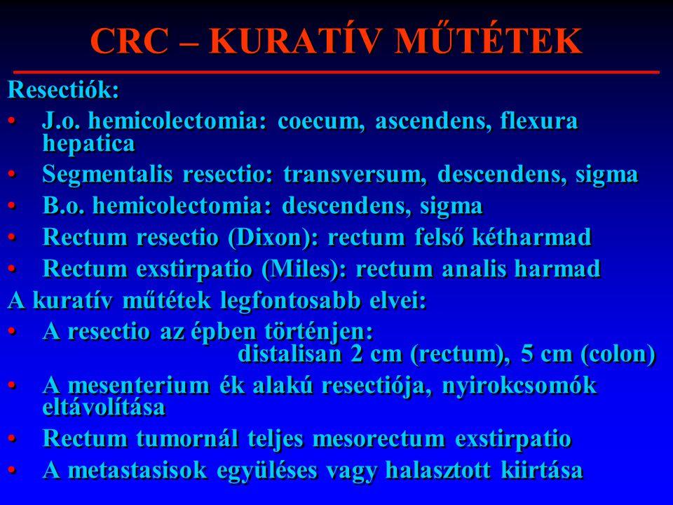 CRC – KURATÍV MŰTÉTEK Resectiók: