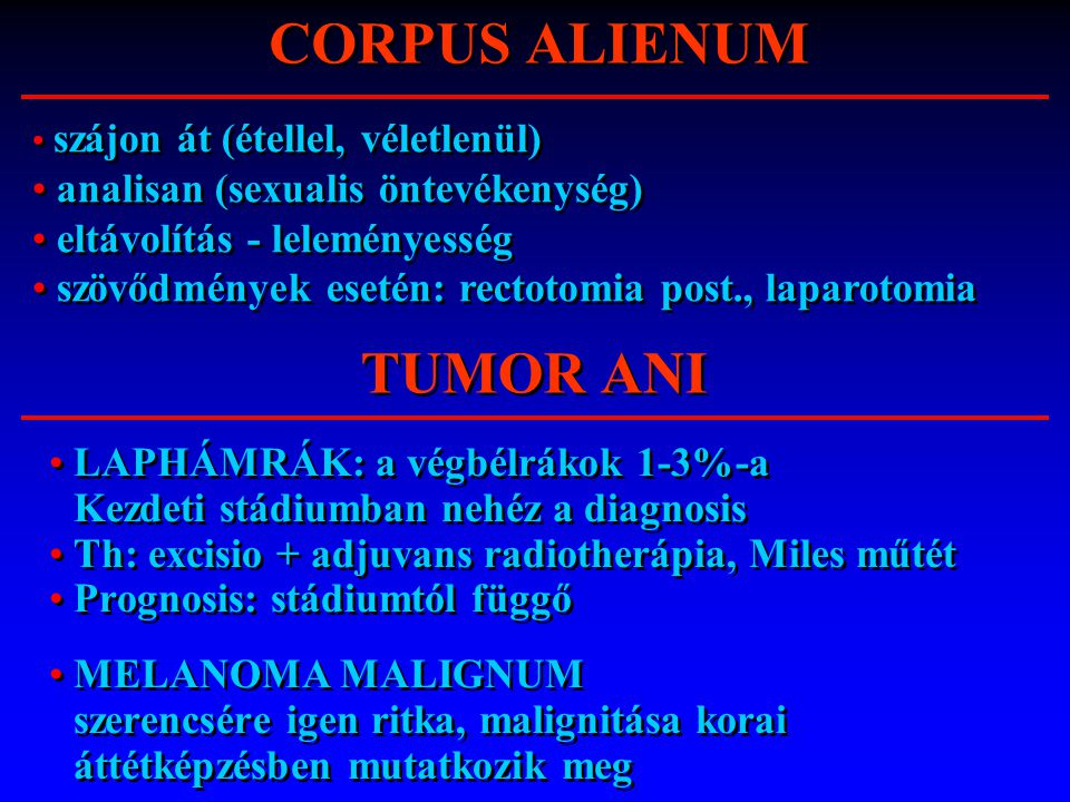 CORPUS ALIENUM TUMOR ANI
