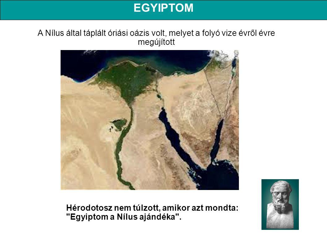 EGYIPTOM A Nílus által táplált óriási oázis volt, melyet a folyó vize évről évre megújított.
