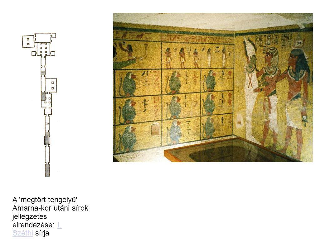 A megtört tengelyű Amarna-kor utáni sírok jellegzetes elrendezése: I