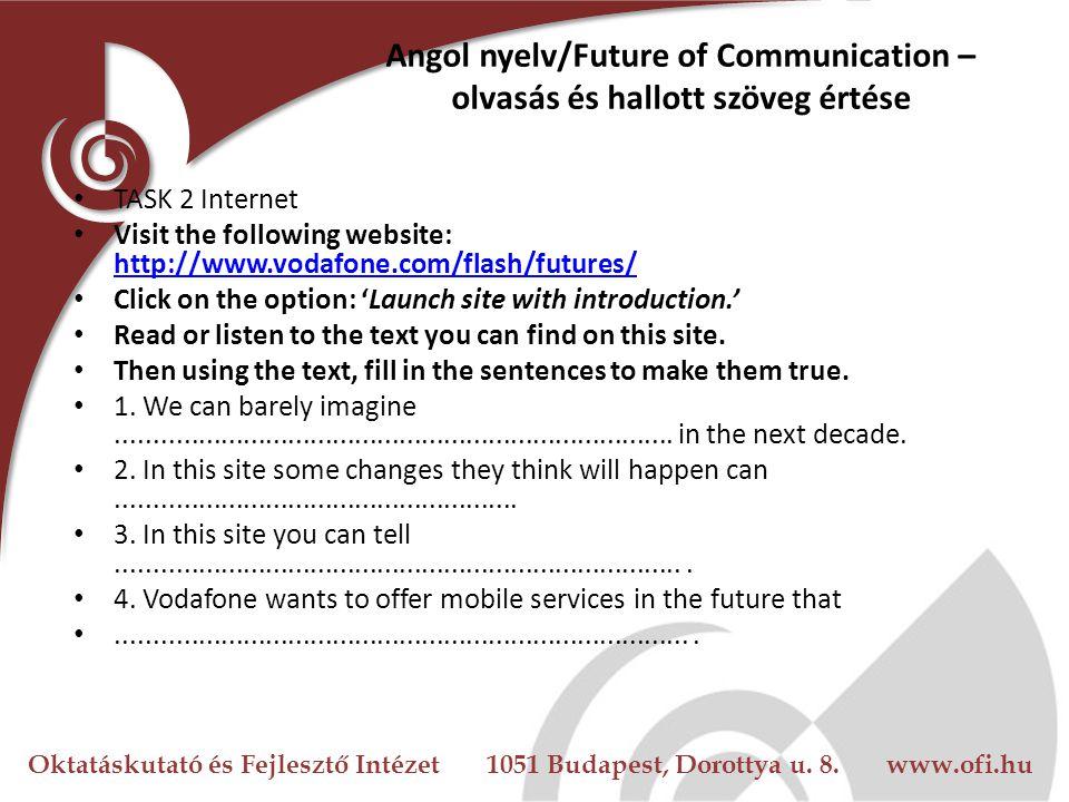 Angol nyelv/Future of Communication – olvasás és hallott szöveg értése