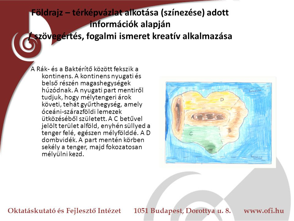 Földrajz – térképvázlat alkotása (színezése) adott információk alapján / szövegértés, fogalmi ismeret kreatív alkalmazása