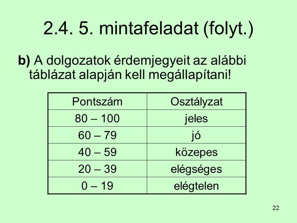 2.4. 5. mintafeladat (folyt.) b) A dolgozatok érdemjegyeit az alábbi táblázat alapján kell megállapítani!