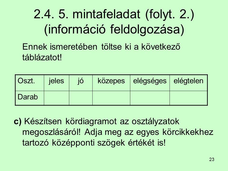 2.4. 5. mintafeladat (folyt. 2.) (információ feldolgozása)