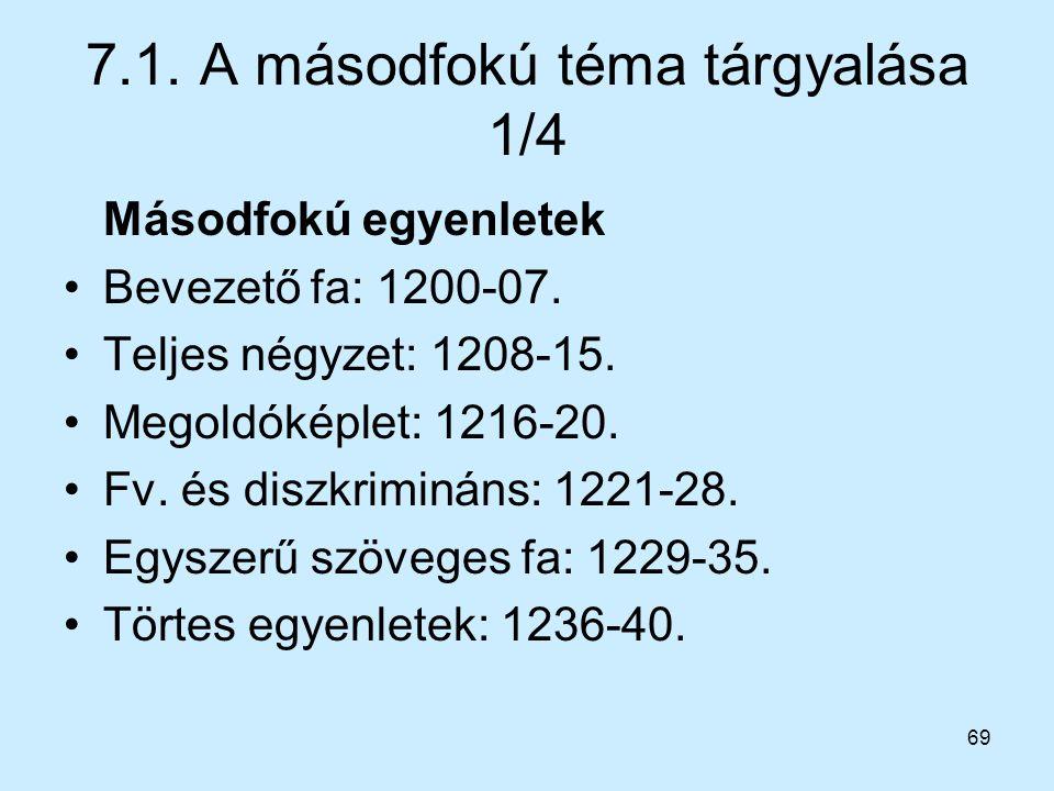 7.1. A másodfokú téma tárgyalása 1/4