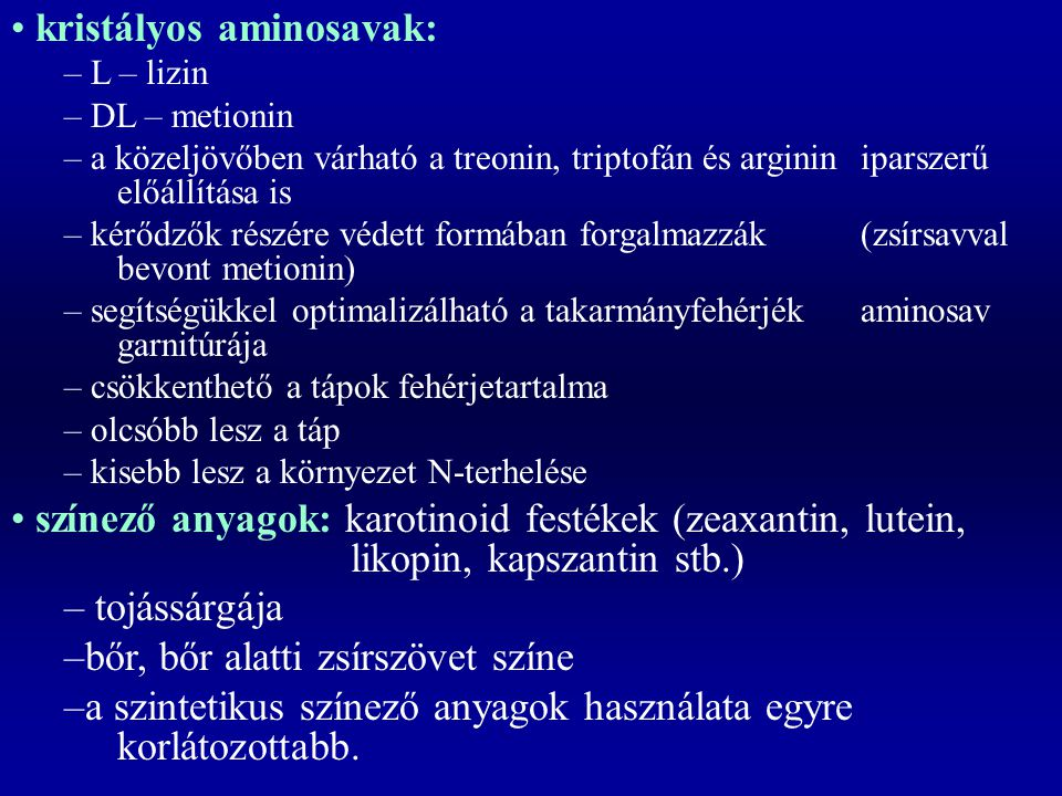 kristályos aminosavak: