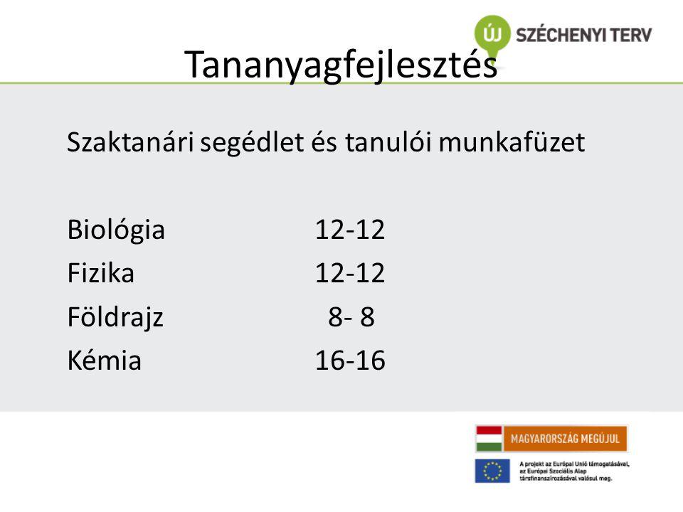 Tananyagfejlesztés Szaktanári segédlet és tanulói munkafüzet Biológia 12-12 Fizika 12-12 Földrajz 8- 8 Kémia 16-16