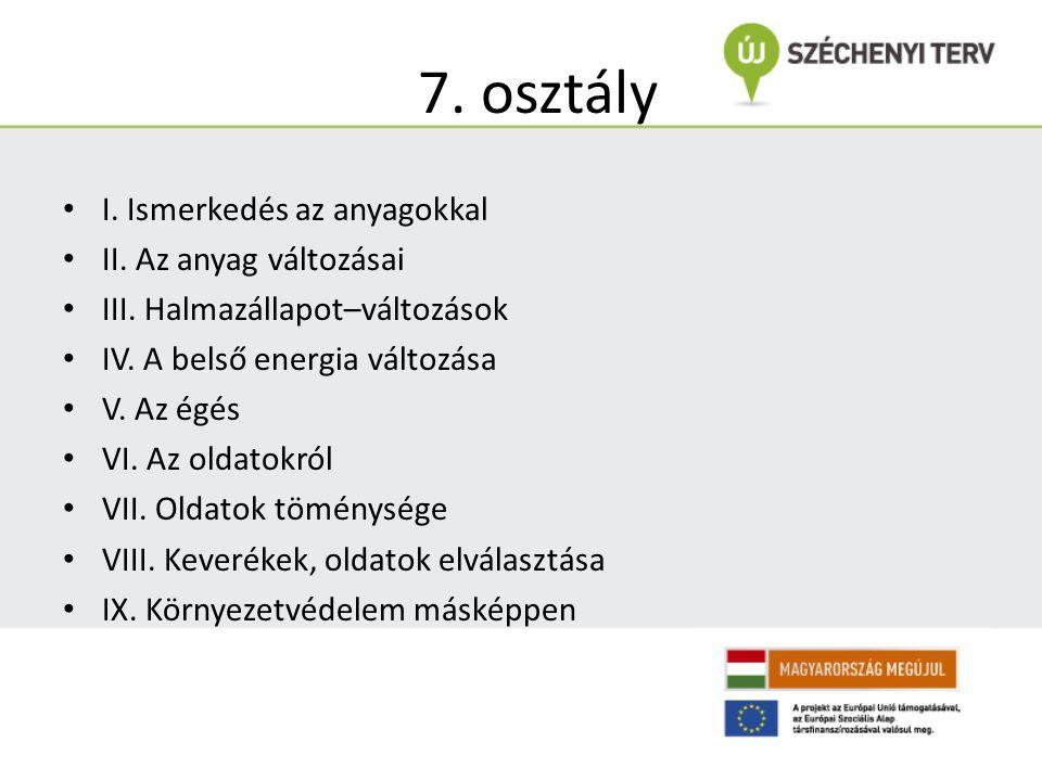 7. osztály I. Ismerkedés az anyagokkal II. Az anyag változásai