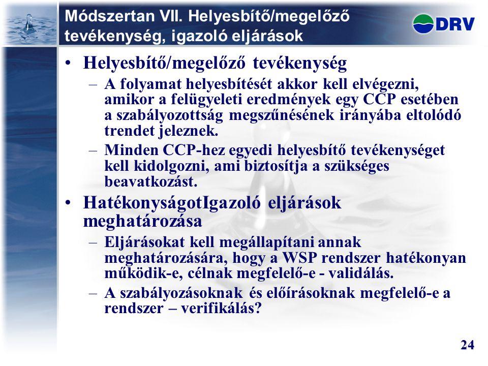 Módszertan VII. Helyesbítő/megelőző tevékenység, igazoló eljárások